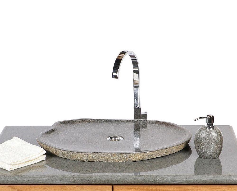 WOHNFREUDEN Naturstein Aufsatz-Waschbecken aus Flussstein 60 - 70 cm Waschschale