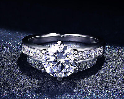 1 1/2 CT D Si1 Solitaire Round Cut Diamond Engagement Ring 14K White Gold