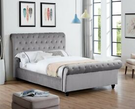 Kate Plain Velvet Stylist Sleigh Bed Double Bed King- Mattress Option Express Delivery7Days aWeek