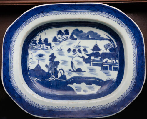 Antique Canton Chinese Export Blue & White Porcelain Platter