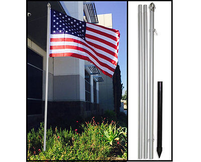 10ft Aluminum Outdoor Flag Pole KIT Ground Spike Flagpole (no flag) 10 ft - Outdoor Flag Kit