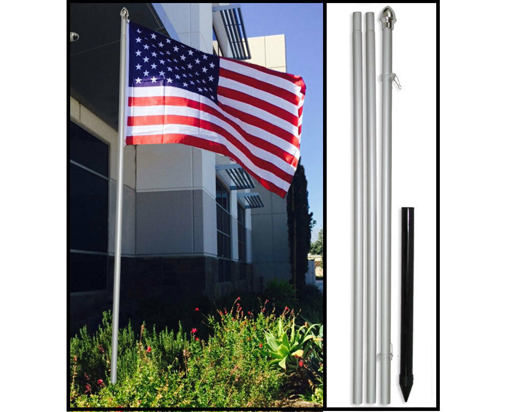 10ft Aluminum Outdoor Flag Pole KIT Ground Spike + 3x5 USA F