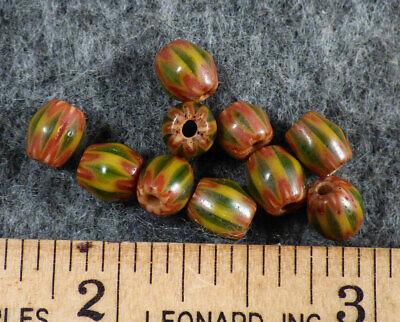 (10) Original Old Green & Red Chevron Huron Indian Trade Beads Fur Trade Era](Red Chevron)