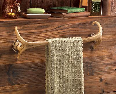 - Deer antler Hunting Lodge cabin rustic decor Bathroom bath towel bar rack hook