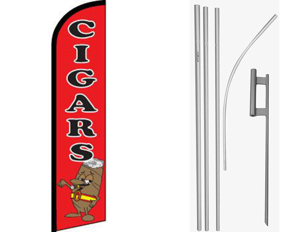 Cigars Red / Black Windless Banner Flag & 16ft Flagpole Kit