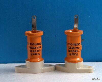 2pcs Rft Draloric Standard Capacitor Rc16x40 120pf 4.5kv 4.2kva Arms-5a