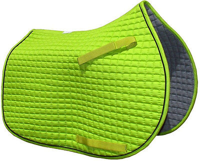 Pri All Purpose Quilted English Saddle Pad - Lime Green PONY PAD