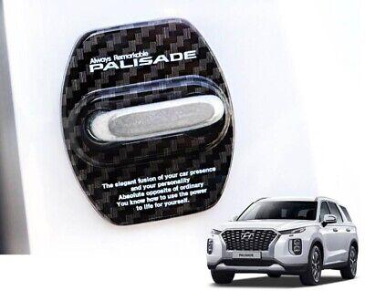Korea Interior 4pcs Black Carbon Door Striker Cover for Hyundai PALISADE