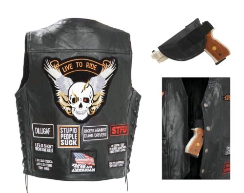 Diamond Plate Mens Black Buffalo Leather Concealed Carry ...