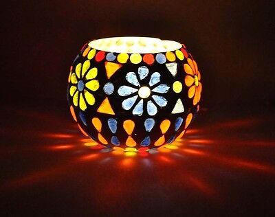 Romantic Glass Turkish Moroccan Colorful Mosaic Candle Holder Tealight Lamp 3""
