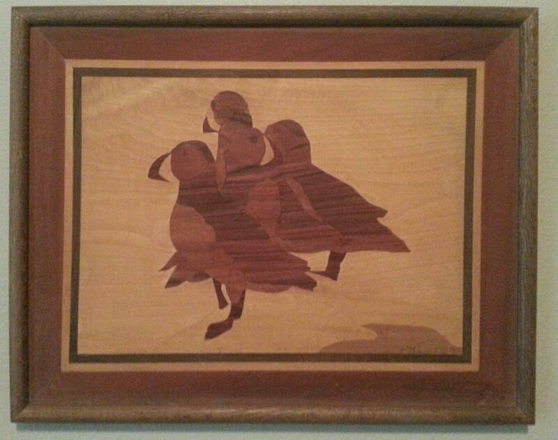 "3 Puffins - Alaskan Marquetry 18"" by 14"" Wood Inlay"