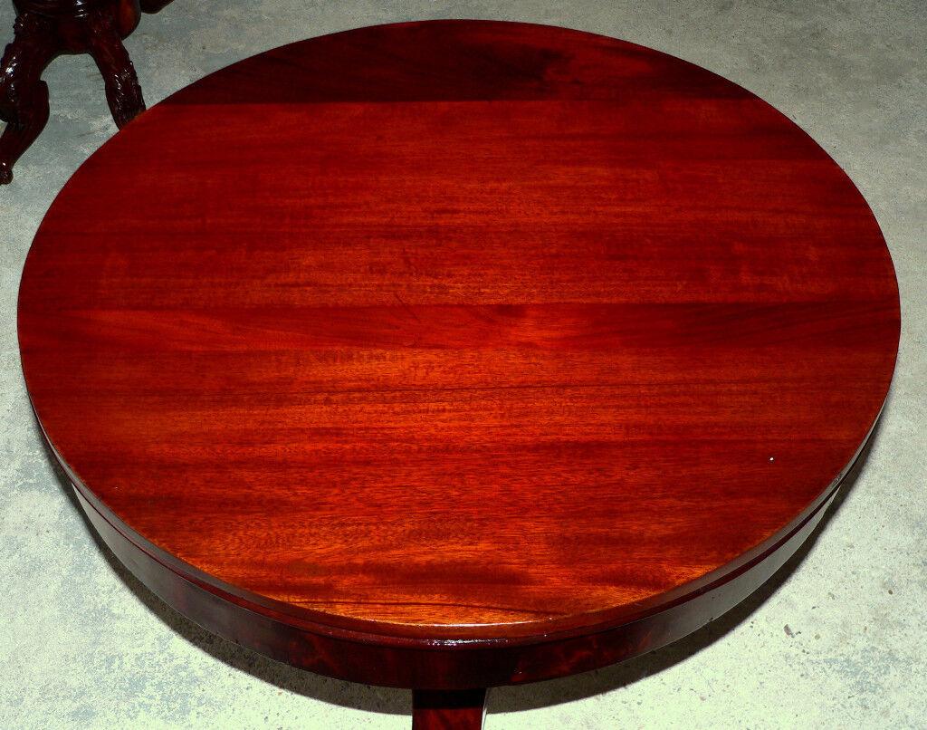 "Miles Furniture Pensacola c1830 Classical Empire center table, mahogany/rosewood, 35""d,"