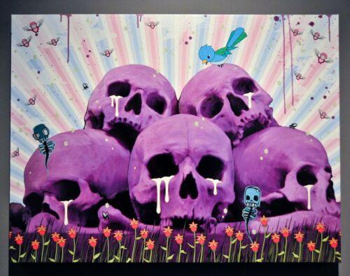 Mike Shinoda - 2009 - Skull Pile Mixes Media PAINTING Linkin Park Signed Canvas