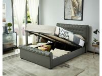 Milana King Size Leather Effect Ottoman Bed - Grey