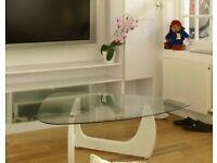 Triangular glass and white legged coffee table (stunning)