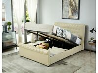 Milana King Size Leather Effect Ottoman Bed - Cream