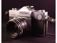 SALE Vintage SLR Petri TTL + Lens Helios 44-2 58/2 m42 + Pullman Camera Bag FREE!!