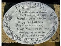 Garden Decor - Large Heavy Grey Stone Plaque with 'Friendship' Quote Engraved