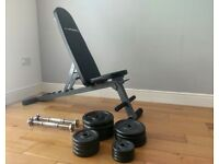 Gym Equipment - bench & weights + pull up bar