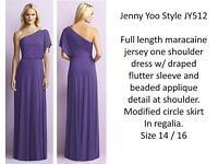 Jenny Yoo One Shoulder Ocassion Wear Dress in Deep Purple.