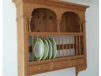Solid Pine Plate Rack with Drawers
