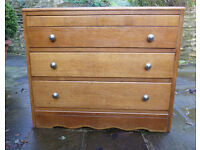 Vintage 3 drawer chest of drawers. light oak veneer, small size, pewter knobs