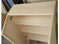 Ikea billy bookcase, 3 shelves, with oxberg doors, 80cm wide x 106cm high. In excellent condition.