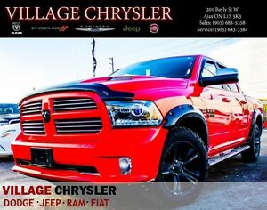 2016 Ram 1500 Sport Torred Red, Nav, BF AT ties, Back Rack, and