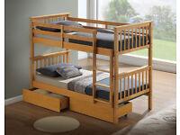 BARCELONA 3FT SINGLE BEECH WOODEN BUNK BEDS BRAND NEW £159.99