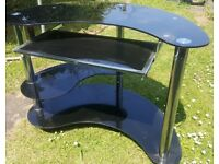 Black glass pc desk with trolley