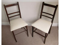 PAIR OF DARK WOOD CHAIRS, CREAM SUEDE SEATS