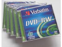 Verbatim DVD-RW re-recordable 4x Speed DVDs - 5 Pack Jewel Case - cheap (43285)