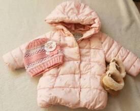 Baby Girl Coat NEXT + H&M pram shoes + brand new hat