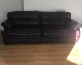 Brown leather 4 seater couch