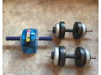 Dumbbells With 15KG Weights and Ab Cruncher
