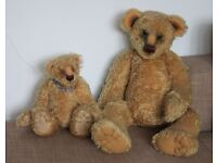 Collectible OOAK mohair bears, 1 large, 1 medium, with tags