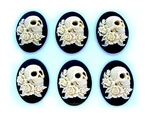 6 Goth Zombie IVORY COLOR SKULL w/ ROSES & TATTOOS on BLACK 40mm x 30mm CAMEOS