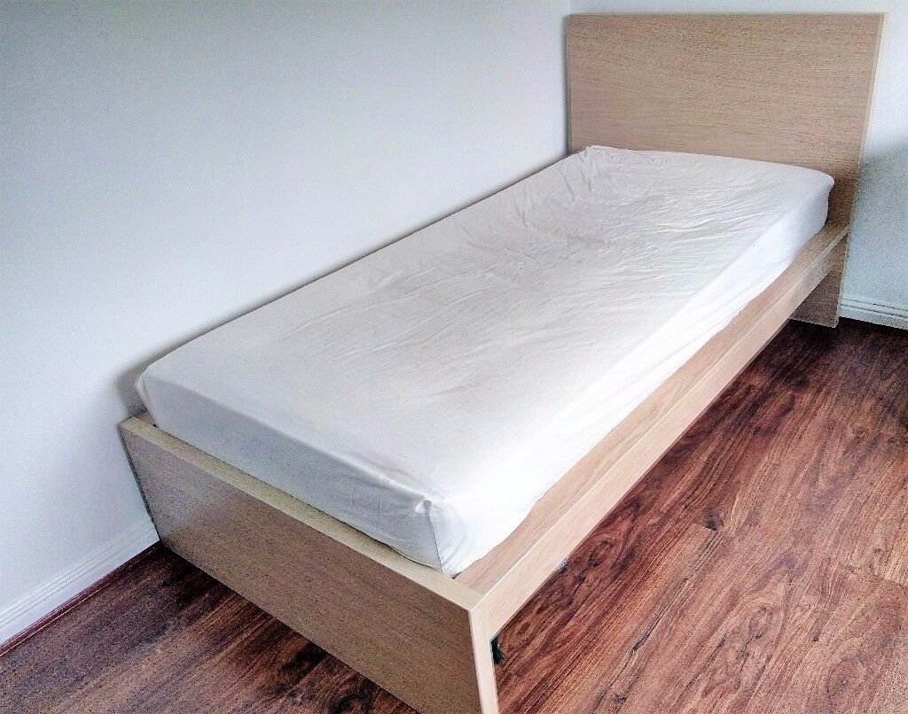 URGENT* IKEA Single Bed frame MALM White stained oak veneer (ASAP ...