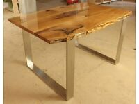 Solid wood EPOXY RESIN TABLE solid wood live edge steel legs made to measure
