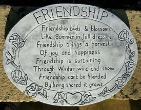 Garden Decor - Engraved Large Stone Wall Plaque 36cm x 28cm