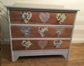 Restored solid wood chest of drawers, £290