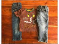 9-12 months, 2x Next jeans and 1x Gruffalo t-shirt