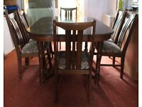 Solid Wood Dark Chestnut Extending Dining Table & Dining Chairs