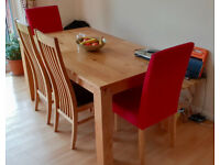 Solid Oak Extending Dining Table with 4 chairs and bench