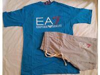 EA7 EMPORIO ARMANI REGULAR FIT T-SHIRT & SHORT - BLUE & GREY - SIZE: M, L & XXL AVAILABLE