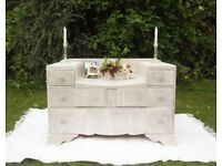 Antique vintage retro Art deco white lime waxed chest of drawers dressing table Refurbished