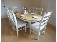 Eloquent Oval Extending Shabby Chic Table Set - Newly Refurbished