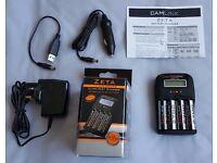 CAMLINK ZETA Ultra-Fast Charger & 4 x AA 2700mAh Ni MH Batteries