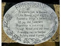 Garden Decor - Large white/grey stone plaque with a lovely 'Friendship quote' engraving.