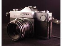 Vintage set: Petri TTL 35 mm film SLR Camera + Helios 44-2 58 m f/2 M42 mount Lens Great Condition